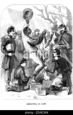 Christmas in Camp from Godey's Lady's Book and Magazine, December, 1864, Volume LXIX, (Volume 69), Philadelphia, Louis A. Godey, Sarah Josepha Hale,