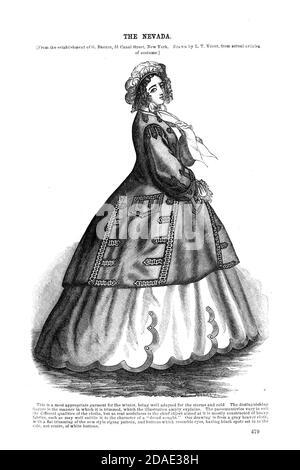 The Nevada Dress Godey's Lady's Book and Magazine, December, 1864, Volume LXIX, (Volume 69), Philadelphia, Louis A. Godey, Sarah Josepha Hale,