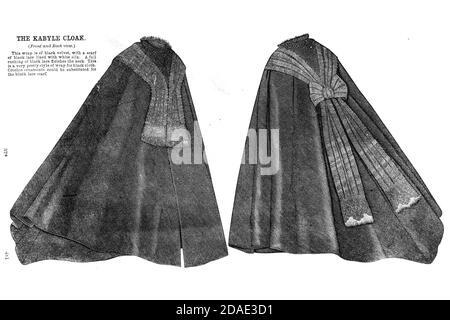 Cloak for a Lady (front and back) from Godey's Lady's Book and Magazine, December, 1864, Volume LXIX, (Volume 69), Philadelphia, Louis A. Godey, Sarah Josepha Hale,