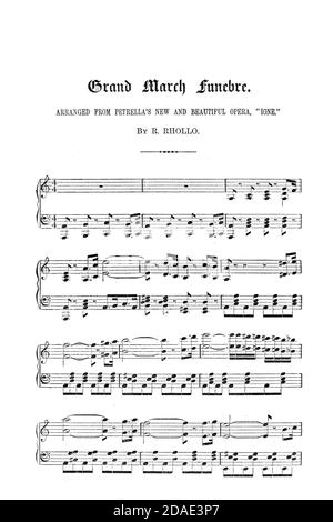Grand March funebre Sheet Music from the Opera Ione from Godey's Lady's Book and Magazine, December, 1864, Volume LXIX, (Volume 69), Philadelphia, Louis A. Godey, Sarah Josepha Hale,
