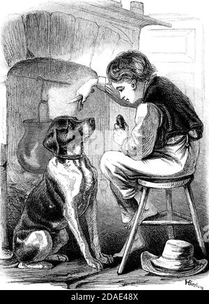 Scene from Great Expectations the thirteenth novel by Charles Dickens from Godey's Lady's Book and Magazine, Marc, 1864, Volume LXIX, (Volume 69), Philadelphia, Louis A. Godey, Sarah Josepha Hale,