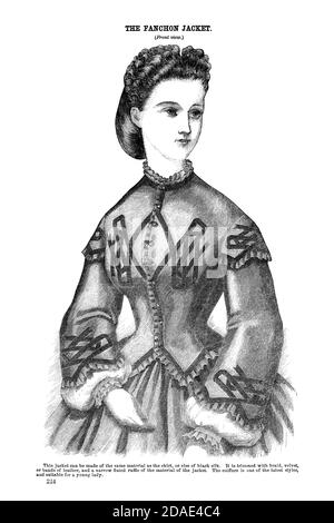 Godey's Fashion for March 1864 Fanchon Jacket from Godey's Lady's Book and Magazine, Marc, 1864, Volume LXIX, (Volume 69), Philadelphia, Louis A. Godey, Sarah Josepha Hale,