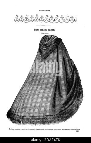 Godey's Fashion for March 1864 from Godey's Lady's Book and Magazine, Marc, 1864, Volume LXIX, (Volume 69), Philadelphia, Louis A. Godey, Sarah Josepha Hale,