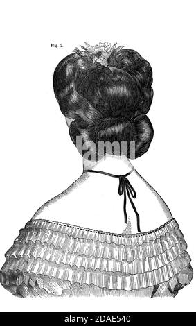 Coiffures - woman's hairstyling from Godey's Lady's Book and Magazine, Marc, 1864, Volume LXIX, (Volume 69), Philadelphia, Louis A. Godey, Sarah Josepha Hale,
