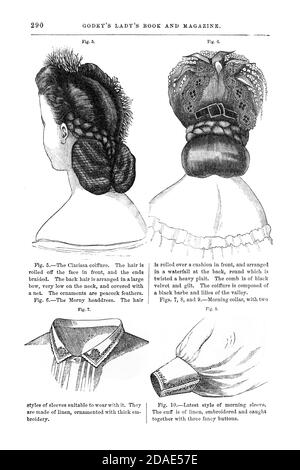 Coiffures - Women's hairstyling from Godey's Lady's Book and Magazine, Marc, 1864, Volume LXIX, (Volume 69), Philadelphia, Louis A. Godey, Sarah Josepha Hale,