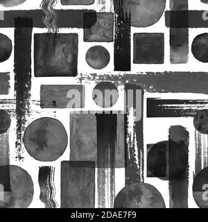 Contemporary art seamless pattern background. Abstract grunge geometric shapes. Watercolor hand drawn black circles, rectangles, squares texture on wh