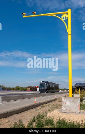 Average speed cameras on the M1 motorway in the Midlands, England. - Stock Photo
