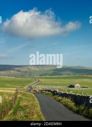 UK landscape: Vertical image of stunning views of the country lane across Malham Moor with old stone barn, Yorkshire Dales National Park in beautiful Stock Photo