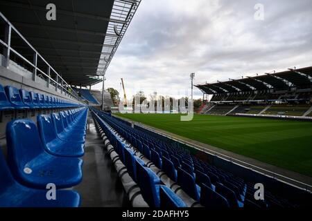 Karlsruhe, Deutschland. 12th Nov, 2020. View of the seating in the north stand. The first demolition work on the main grandstand of the Karlsruhe WIldparkstadion took place on Thursday. GES/Football/2. Bundesliga: Construction work in the main stands Wildpark Stadium Karlsruhe, November 12th, 2020 Football/Soccer: 2nd German League: KSC Wildpark Stadium under construction, November 12, 2020 | usage worldwide Credit: dpa/Alamy Live News