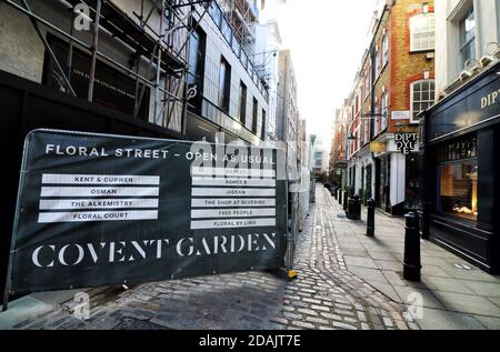 View of a deserted Covent Garden shopping area Street.A week into the second Nationwide Lockdown in England - aka Lockdown 2.0 - streets in some usually busy tourist and hospitality areas in London are virtually deserted and travel around the city is much reduced.