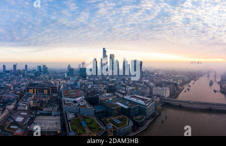 Stunning London city sunrise aerial view