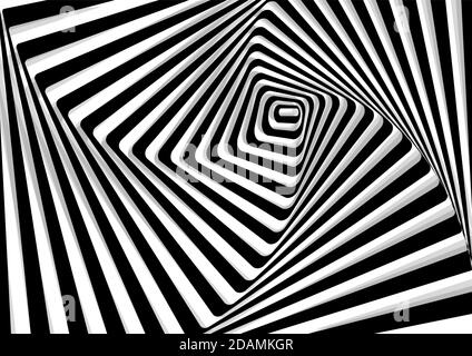 geometric illusion background, black and white curved lines, vector illustration, eps 10 Stock Photo