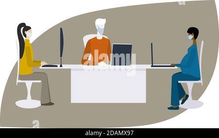 Different people in  medical mask sit at desk in office or library and maintain social distancing. Albino man and pregnant woman using in public
