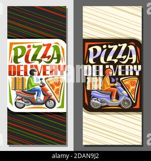 Vector layouts for Pizza Delivery, illustration of riding courier in helmet on motorcycle and margherita pizza piece, decorative sign board for pizzer - Stock Photo