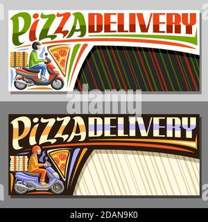 Vector layouts for Pizza Delivery with copy space, illustration of riding boy in helmet on motorcycle and pizza slice, decorative sign board for pizze - Stock Photo
