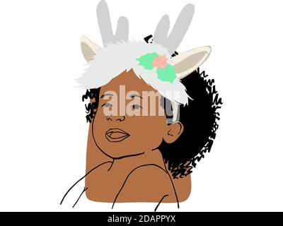 Hand draw outline portrait of a african girl with christmas costume. Skin color sample on her face.