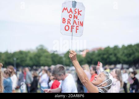 Demonstration against corona measures on 16 May 2020 at Theresienwiese, Munich, Bavaria, Germany - Stock Photo
