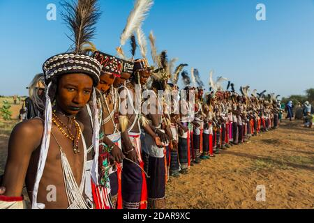 Wodaabe-Bororo men with faces painted at the annual Gerewol festival, courtship ritual competition among the Woodaabe Fula people, Niger