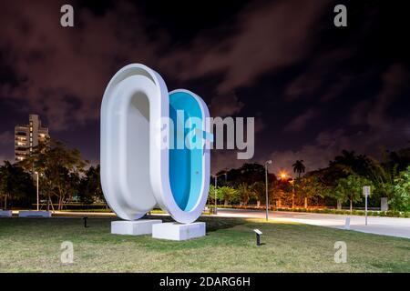 MIAMI BEACH, FL, USA - NOVEMBER 13, 2020: Bent shape swimming pool at at Convention Center Park Miami Beach FL