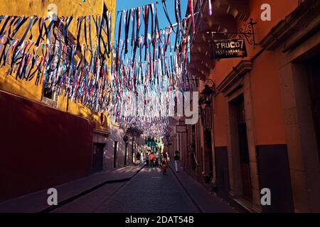 Colorful alleyway during Day of the Dead celebration in UNESCO World Heritage Guanajuato, Mexico