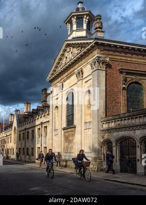 CAMBRIDGE, UK:  View of Pembroke College Chapel (designed by Christopher Wren) on Trumpington Street - Stock Photo