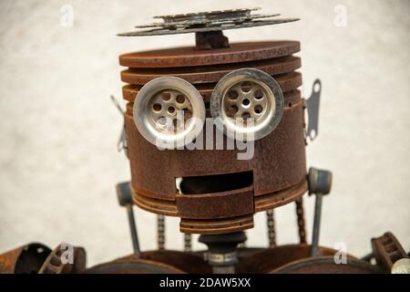 Russia. Vyborg. 10.10.2020 Statue of a robot assembled from auto parts - Stock Photo