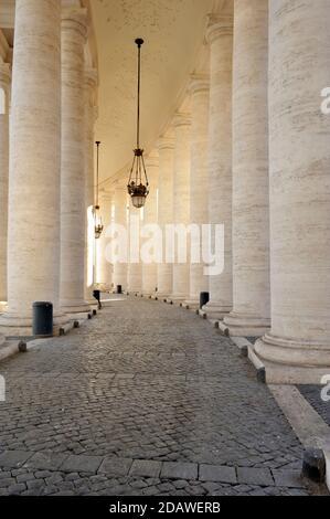 italy, rome, st peter's square, bernini colonnade