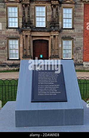 BLM,Black Lives Matter,plaque,Statue removed at Dunham Massey,black slave boy,Altrincham, Greater Manchester,England,UK, WA14 4SJ - Stock Photo