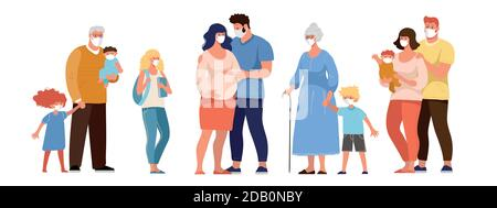 Family, grandparents with grandchildren, pregnant woman, people in medical masks, protection against the spread of coronavirus. Flat cartoon vector characters isolated on white background