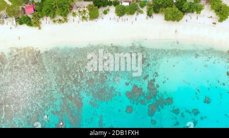 Aerial view of sandy beach, palm trees by atoll with coral reef. Alorro Beach, Philippines, Samal.