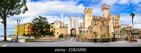 Most beautiful castles of Italy - Scaligero Castle in Sirmione. Lake Lago di Garda