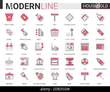 Household tools flat thin red black line icons vector illustration set, outline house cleaning, cooking or gardening linear symbols, housework collection of domestic cleaner equipment, home appliances - Stock Photo