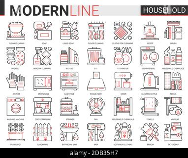 Household tools complex thin red black line icons vector illustration set, outline house cleaning, cooking or gardening linear symbols, housework collection domestic cleaner equipment, home appliances - Stock Photo