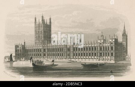 Antique c1850,  engraving, The New Houses of Parliament. The Palace of Westminster serves as the meeting place for the two houses of the Parliament of the United Kingdom. It lies on the north bank of the River Thames in the City of Westminster, in central London, England. SOURCE: ORIGINAL ENGRAVING - Stock Photo