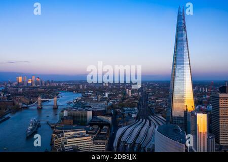 The London Shard drone view in the capital on a clear summer sunset