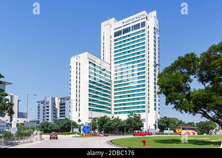 Hong Kong, China – September 20, 2019: Cathay Pacific City headquarters at Hong Kong airport (HKG) in China.