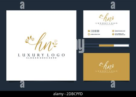 Initial HN Feminine logo collections and business card template Premium Vector - Stock Photo