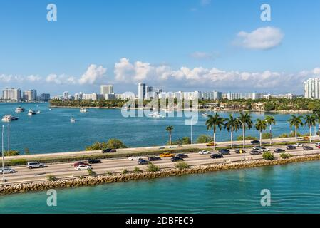 Miami, FL, United States - April 28, 2019: Causeway from downtown to Miami beach, Biscayne Bay and Star Island in Miami, Florida, United States of Ame