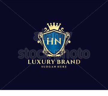 HN Initial Letter Gold calligraphic feminine floral hand drawn heraldic monogram antique vintage style luxury logo design Premium Vector - Stock Photo