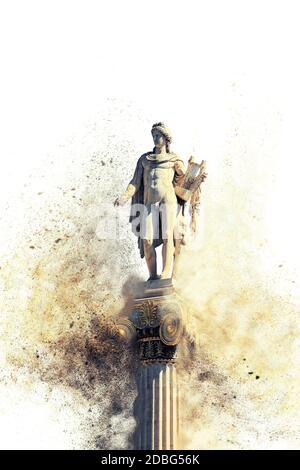 classical Apollo god statue disperse dust effect on white background , Athens, Attica, Greece - Stock Photo