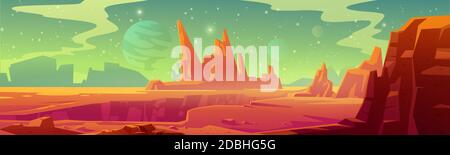 Mars landscape, red alien planet background, desert surface with mountains, rocks, deep cleft and stars shine on green sky. Martian extraterrestrial computer game backdrop, cartoon vector illustration - Stock Photo