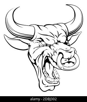 A drawing of a mean angry looking bull mascot face - Stock Photo