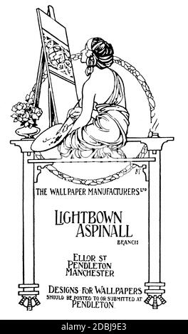 woman at easel, hand drawn advertisement for Lightbown Aspinall of Manchester, from 1912 The Studio an Illustrated Magazine of Fine and Applied Art - Stock Photo