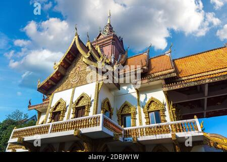 Wat Buppharam - Buddhists temple in Chiang Mai, Thailand in a summer day - Stock Photo
