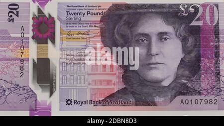 dh Scottish 20 pound banknote MONEY SCOTLAND New polymer notes £20 twenty Royal Bank of Scotland plastic paper front of note currency pounds banknotes