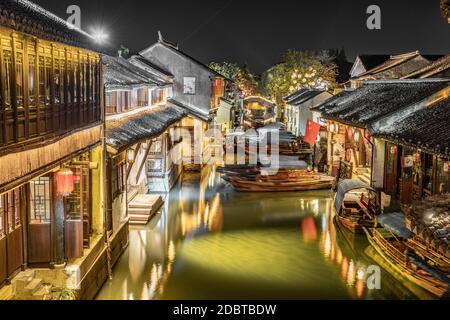 Night view of Zhouzhuang, an ancient Chinese watertown in Suzhou, China.