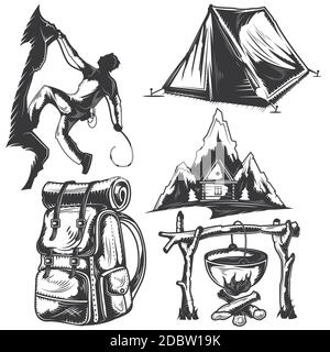 Set of camping elements for creating your own badges, logos, labels, posters etc. Isolated on white. - Stock Photo