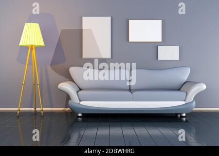 3D rendered Illustration of a interior with blank picture frames against the wall. - Stock Photo