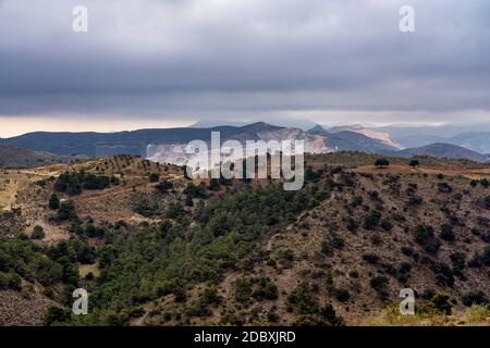 a view of the desert of Tabernas in Chercos in Province of Almeria, in Spain
