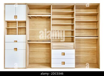 Modern wardrobe with empty shelves isolated on white background. Modern wooden wardrobe with flat finger pull wardrobe doors. Oak veneered plywood cab